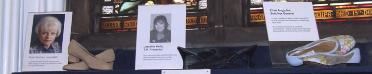 The shoes donated by Ruth Stoddart, journalist, Lorraine Kelly, TV presenter and Elish Angiolini, Scotland's Solicitor General