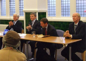 From left, Mark Lazarowicz, Peter McMahon, Sadie (under the table), David Blunkett, Malcolm Chisholm