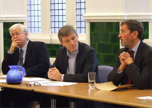 Mark Lazarowicz and Peter McMahon listening to David Blunkett
