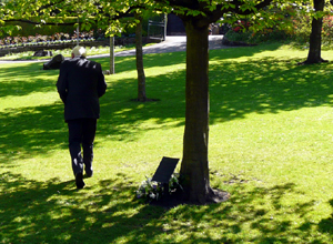 Man walking away solemnly under a sun dappling tree