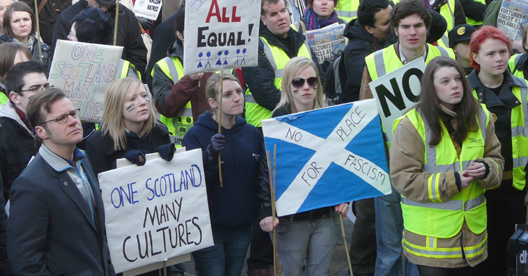 Young students at the Unite Against Fascism rally in Edinburgh, Februar y 2010