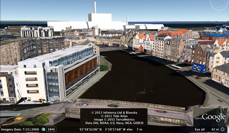 Mocked up view of the Biomass Plant as it might be seen looking from the Shore to Leith Docks