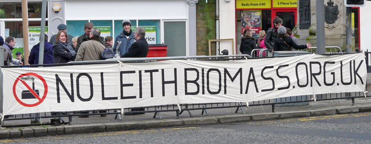 Local campaigners seen at the Foot of Leith Walk in February 2011